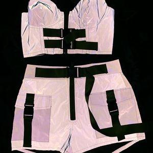 Reflecting two pieces shorts set Sz Medium